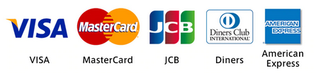 VISA/MasterCard/JCB/Diners/AmericanExpress